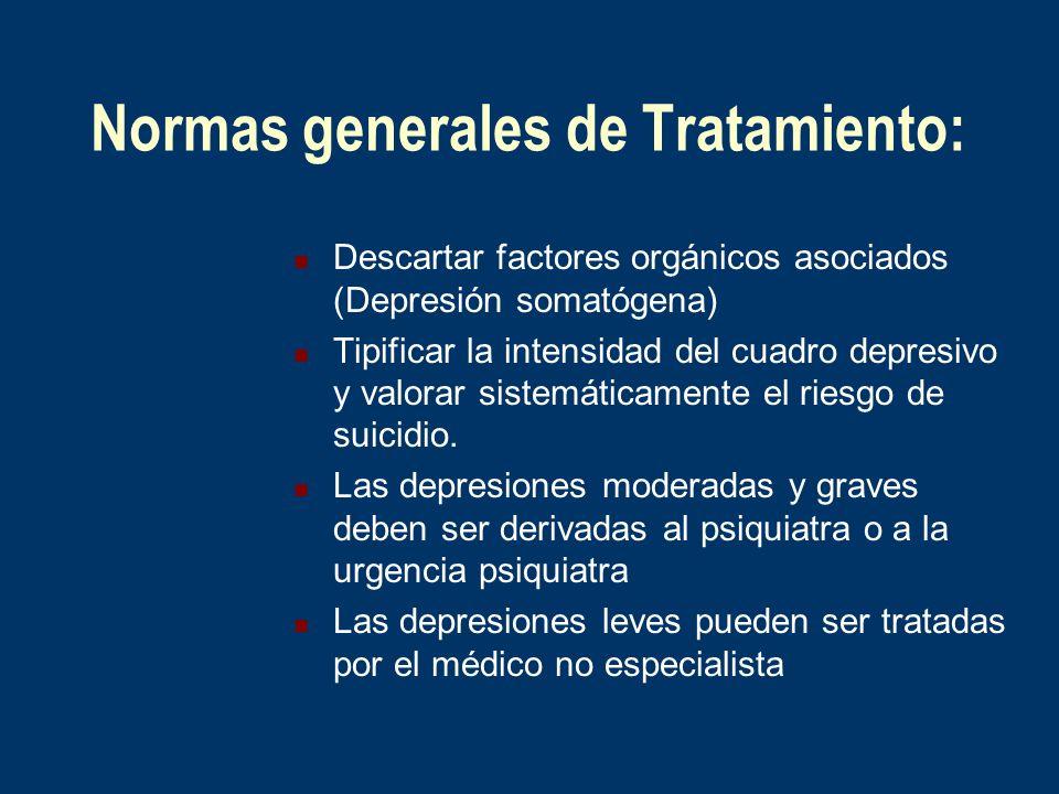 Normas generales de Tratamiento: Descartar factores orgánicos asociados (Depresión somatógena) Tipificar la intensidad del cuadro depresivo y valorar
