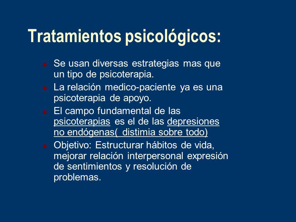 Tratamientos psicológicos: Se usan diversas estrategias mas que un tipo de psicoterapia. La relación medico-paciente ya es una psicoterapia de apoyo.
