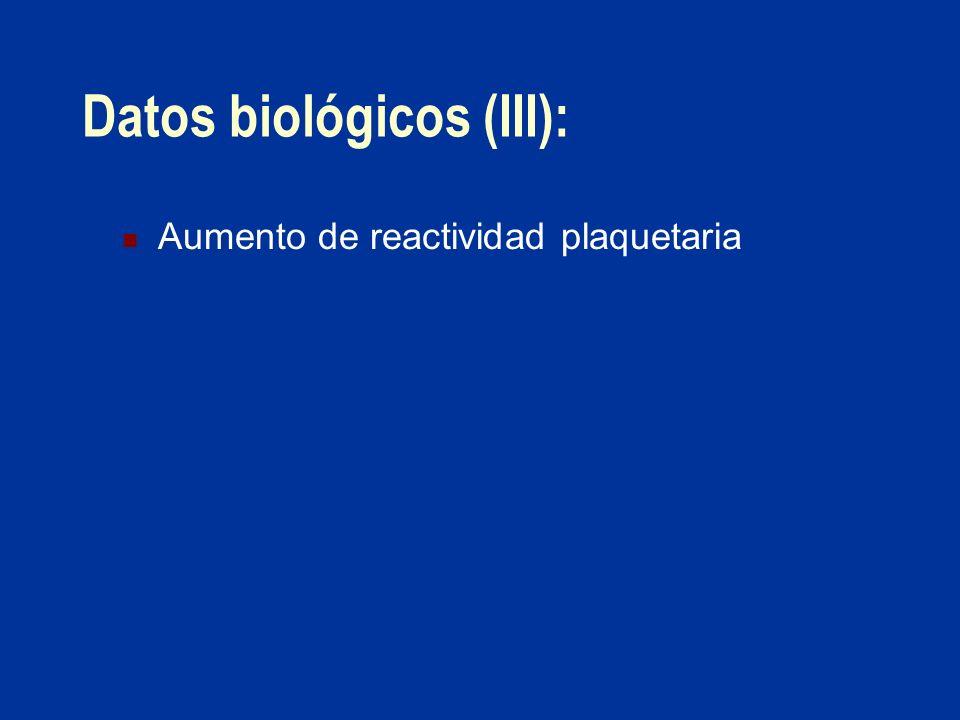 Datos biológicos (III): Aumento de reactividad plaquetaria