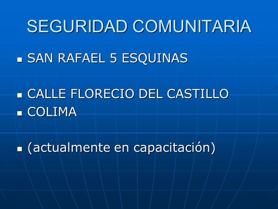 SEGURIDAD COMUNITARIA SAN RAFAEL 5 ESQUINAS SAN RAFAEL 5 ESQUINAS CALLE FLORECIO DEL CASTILLO CALLE FLORECIO DEL CASTILLO COLIMA COLIMA (actualmente e