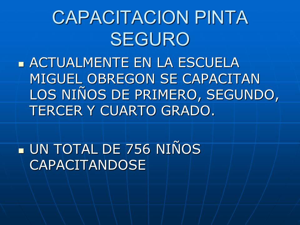 CAPACITACION PINTA SEGURO ACTUALMENTE EN LA ESCUELA MIGUEL OBREGON SE CAPACITAN LOS NIÑOS DE PRIMERO, SEGUNDO, TERCER Y CUARTO GRADO. ACTUALMENTE EN L