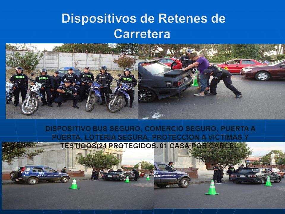 DISPOSITIVO BUS SEGURO, COMERCIO SEGURO, PUERTA A PUERTA, LOTERIA SEGURA, PROTECCION A VICTIMAS Y TESTIGOS(24 PROTEGIDOS. 01 CASA POR CARCEL.
