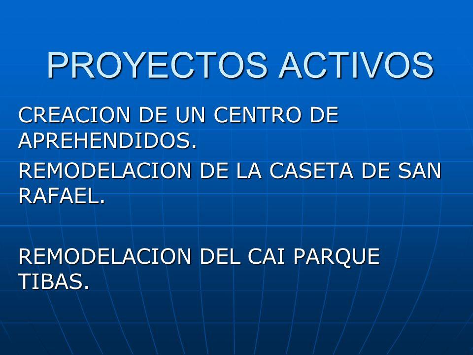 PROYECTOS ACTIVOS CREACION DE UN CENTRO DE APREHENDIDOS. REMODELACION DE LA CASETA DE SAN RAFAEL. REMODELACION DEL CAI PARQUE TIBAS.
