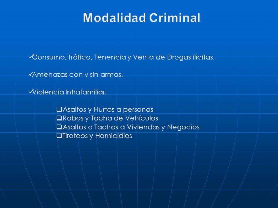Consumo, Tráfico, Tenencia y Venta de Drogas ilícitas. Amenazas con y sin armas. Violencia Intrafamiliar. Asaltos y Hurtos a personas Robos y Tacha de