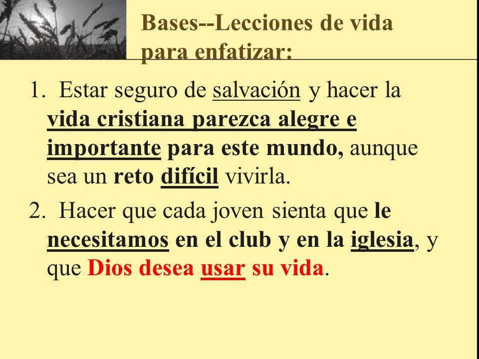 Bases--Lecciones de vida para enfatizar: 1. Estar seguro de salvación y hacer la vida cristiana parezca alegre e importante para este mundo, aunque se