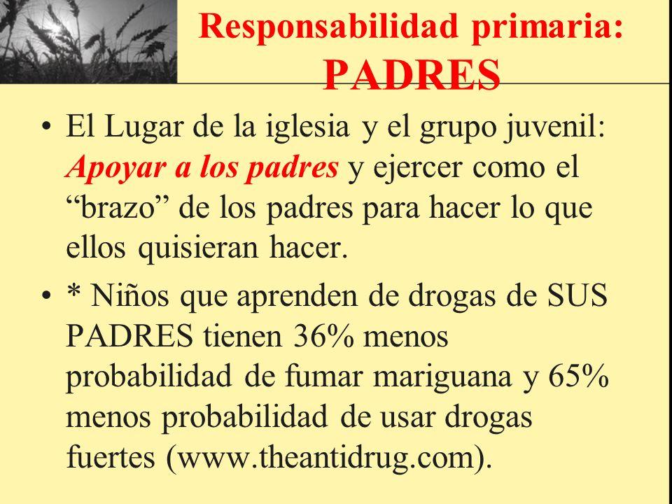 Responsabilidad primaria: PADRES El Lugar de la iglesia y el grupo juvenil: Apoyar a los padres y ejercer como el brazo de los padres para hacer lo qu