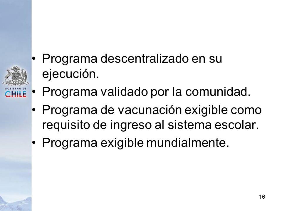 Programa descentralizado en su ejecución. Programa validado por la comunidad. Programa de vacunación exigible como requisito de ingreso al sistema esc