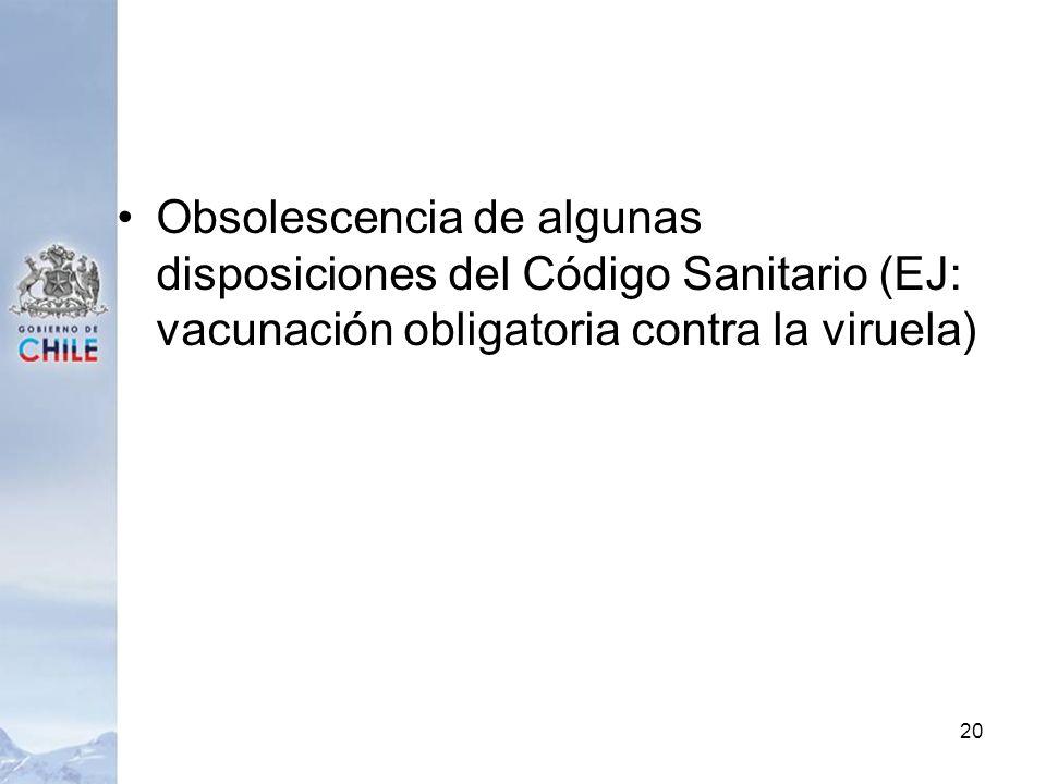 Obsolescencia de algunas disposiciones del Código Sanitario (EJ: vacunación obligatoria contra la viruela) 20