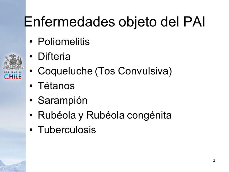 Enfermedades objeto del PAI Poliomelitis Difteria Coqueluche (Tos Convulsiva) Tétanos Sarampión Rubéola y Rubéola congénita Tuberculosis 3