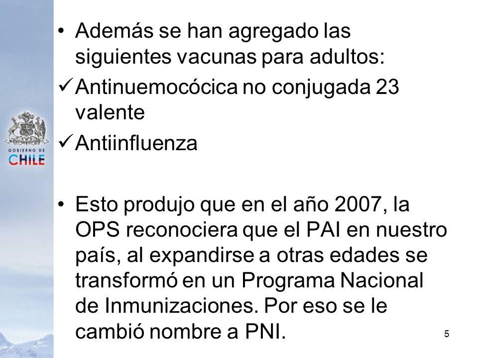 Además se han agregado las siguientes vacunas para adultos: Antinuemocócica no conjugada 23 valente Antiinfluenza Esto produjo que en el año 2007, la