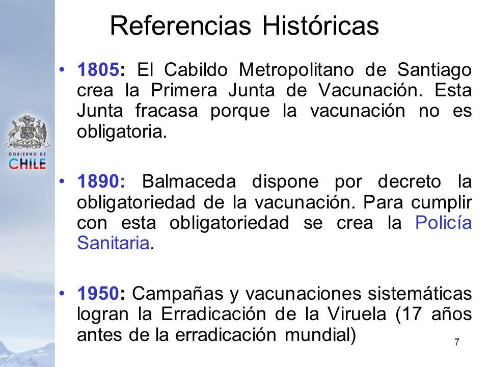 Referencias Históricas 1805: El Cabildo Metropolitano de Santiago crea la Primera Junta de Vacunación. Esta Junta fracasa porque la vacunación no es o