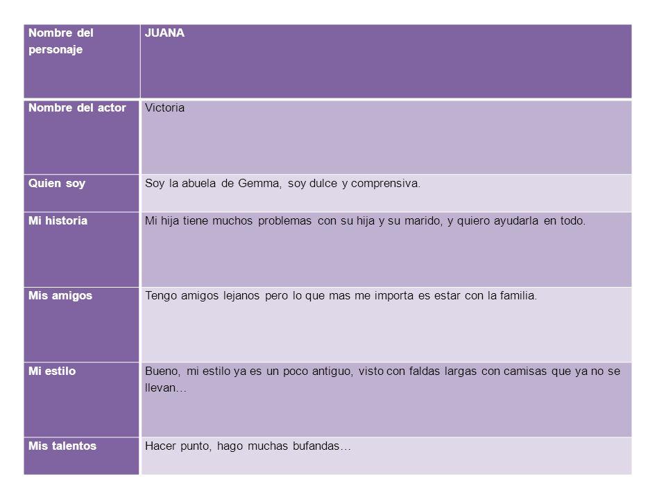Nombre del personaje JUANA Nombre del actorVictoria Quien soySoy la abuela de Gemma, soy dulce y comprensiva.