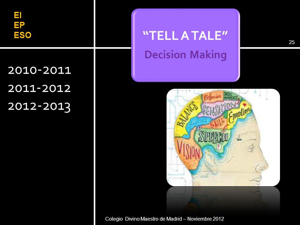 2010-2011 2011-2012 2012-2013 Pere Pujolàs. Universidad de Vic (2008)25 TELL A TALE Decision Making Colegio Divino Maestro de Madrid – Noviembre 2012