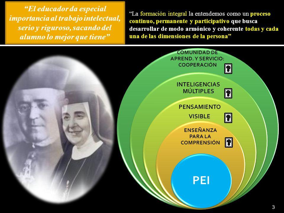 3 COMUNIDAD DE APREND. Y SERVICIO: COOPERACIÓN INTELIGENCIAS MÚLTIPLES PENSAMIENTO VISIBLE ENSEÑANZA PARA LA COMPRENSIÓN PEI La formación integral la