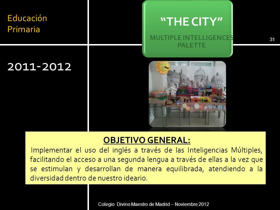 Educación Primaria 2011-2012 Pere Pujolàs. Universidad de Vic (2008)31 THE CITY MULTIPLE INTELLIGENCES PALETTE OBJETIVO GENERAL: Implementar el uso de