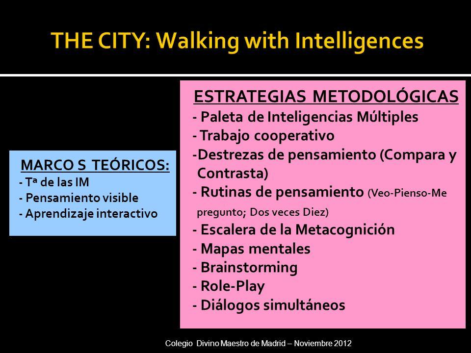 MARCO S TEÓRICOS: - Tª de las IM - Pensamiento visible - Aprendizaje interactivo ESTRATEGIAS METODOLÓGICAS - Paleta de Inteligencias Múltiples - Traba