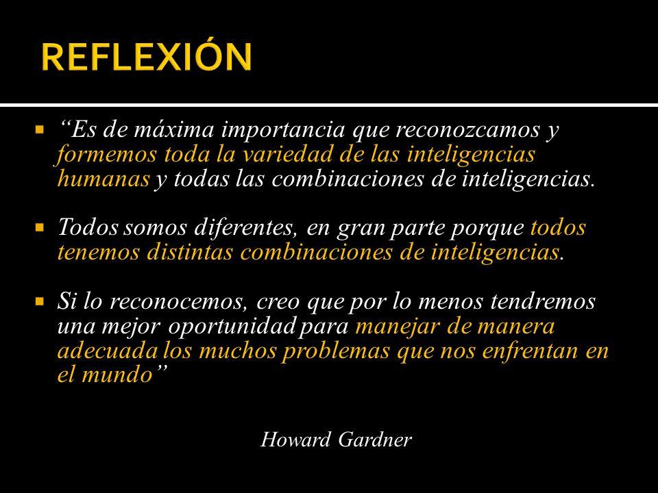 Es de máxima importancia que reconozcamos y formemos toda la variedad de las inteligencias humanas y todas las combinaciones de inteligencias. Todos s