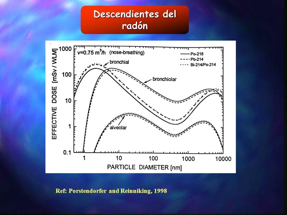 Descendientes del radón Ref: Porstendorfer and Reinniking, 1998