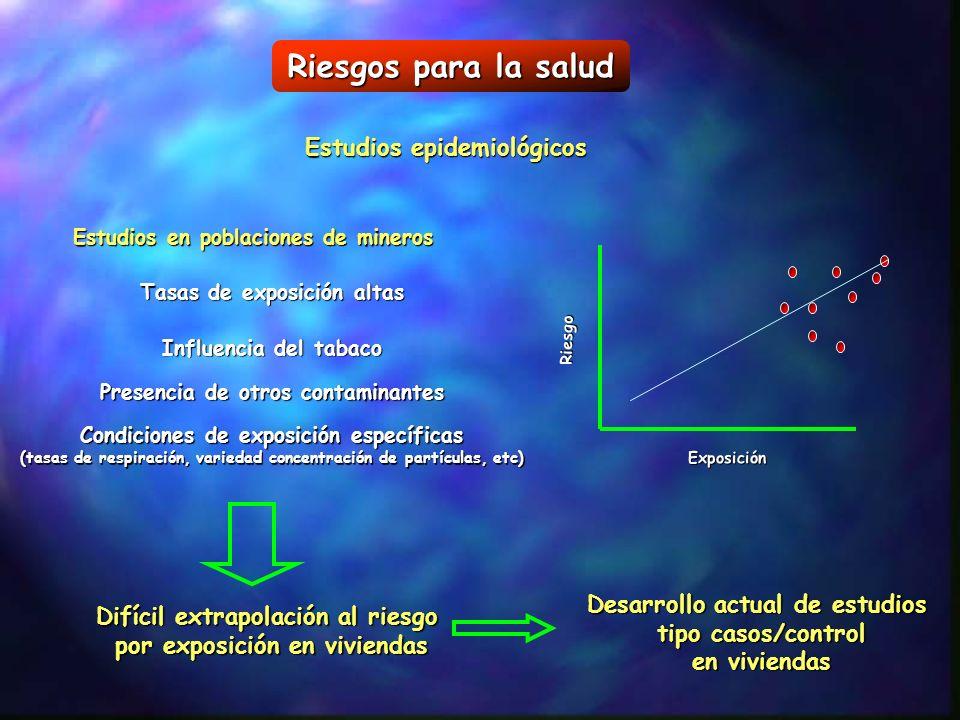 Riesgos para la salud Estudios epidemiológicos Estudios en poblaciones de mineros Riesgo Exposición Tasas de exposición altas Influencia del tabaco Pr