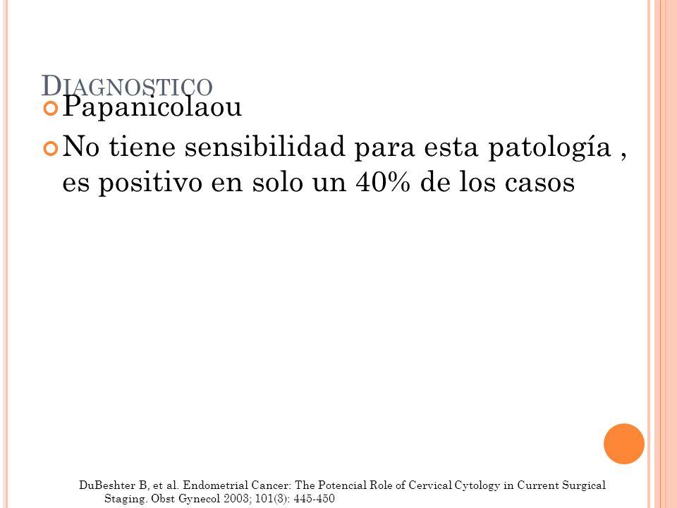 D IAGNOSTICO Papanicolaou No tiene sensibilidad para esta patología, es positivo en solo un 40% de los casos DuBeshter B, et al. Endometrial Cancer: T