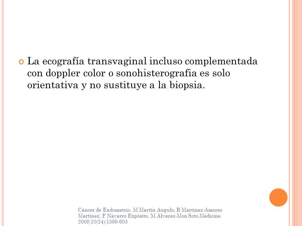 La ecografía transvaginal incluso complementada con doppler color o sonohisterografia es solo orientativa y no sustituye a la biopsia. Cáncer de Endom