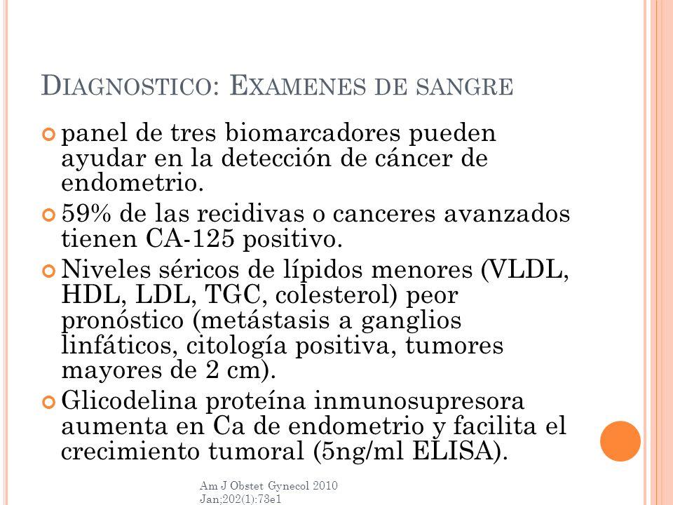 D IAGNOSTICO : E XAMENES DE SANGRE panel de tres biomarcadores pueden ayudar en la detección de cáncer de endometrio. 59% de las recidivas o canceres
