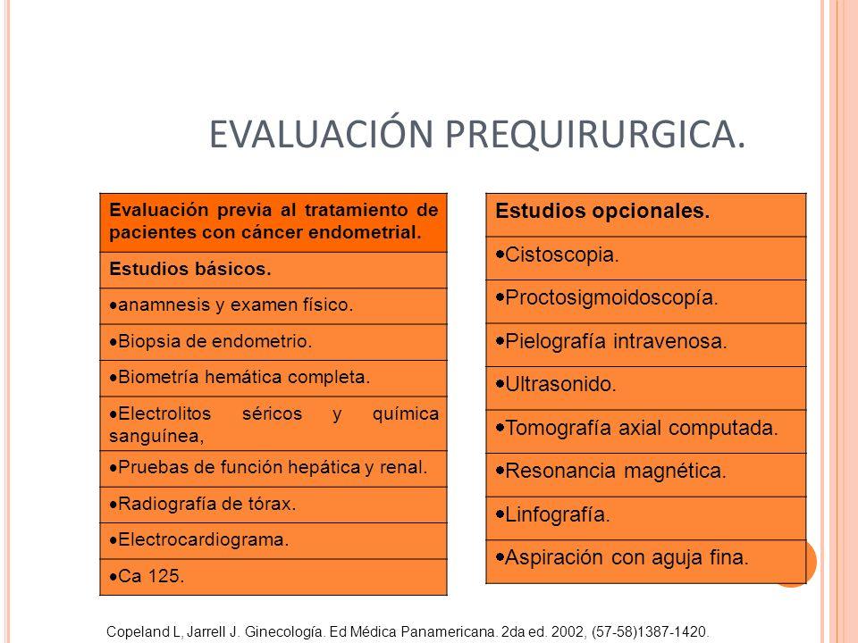 EVALUACIÓN PREQUIRURGICA. Estudios opcionales. Cistoscopia. Proctosigmoidoscopía. Pielografía intravenosa. Ultrasonido. Tomografía axial computada. Re