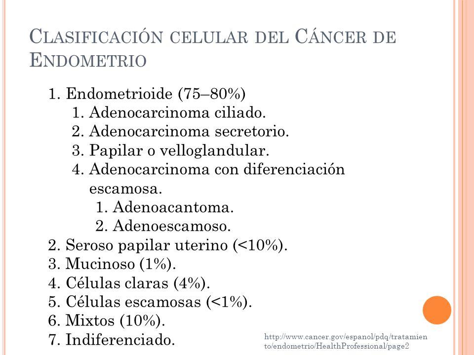 C LASIFICACIÓN CELULAR DEL C ÁNCER DE E NDOMETRIO http://www.cancer.gov/espanol/pdq/tratamien to/endometrio/HealthProfessional/page2 1.Endometrioide (