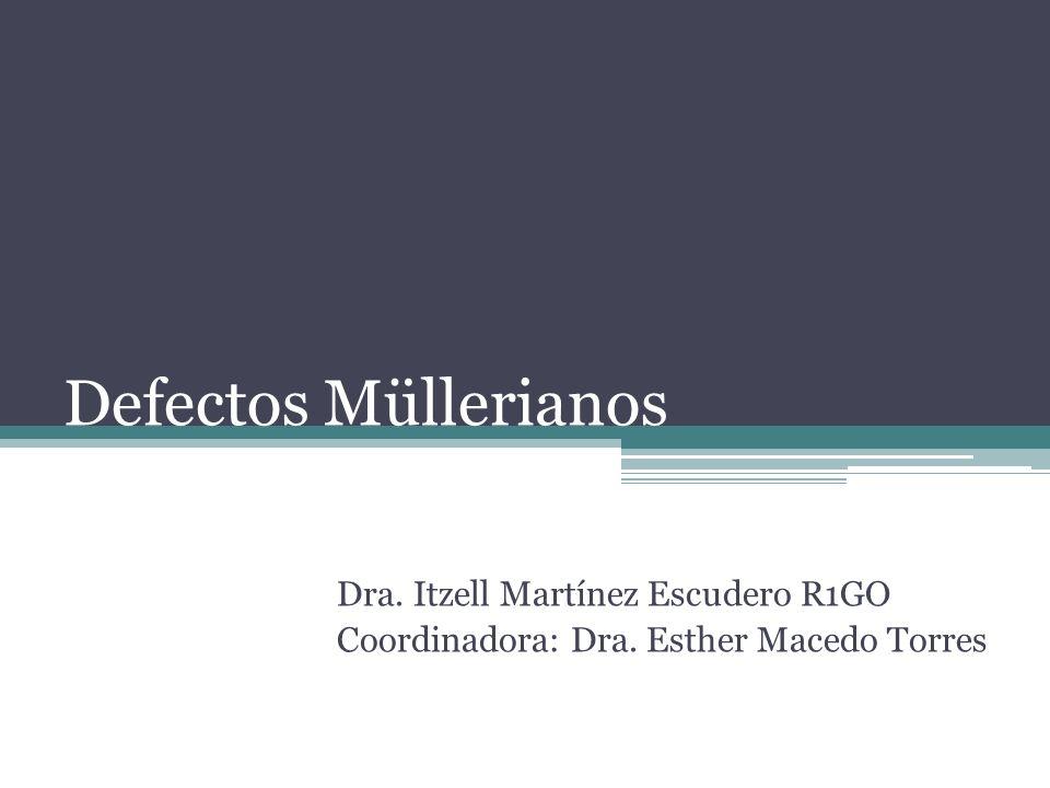 Defectos Müllerianos Dra. Itzell Martínez Escudero R1GO Coordinadora: Dra. Esther Macedo Torres