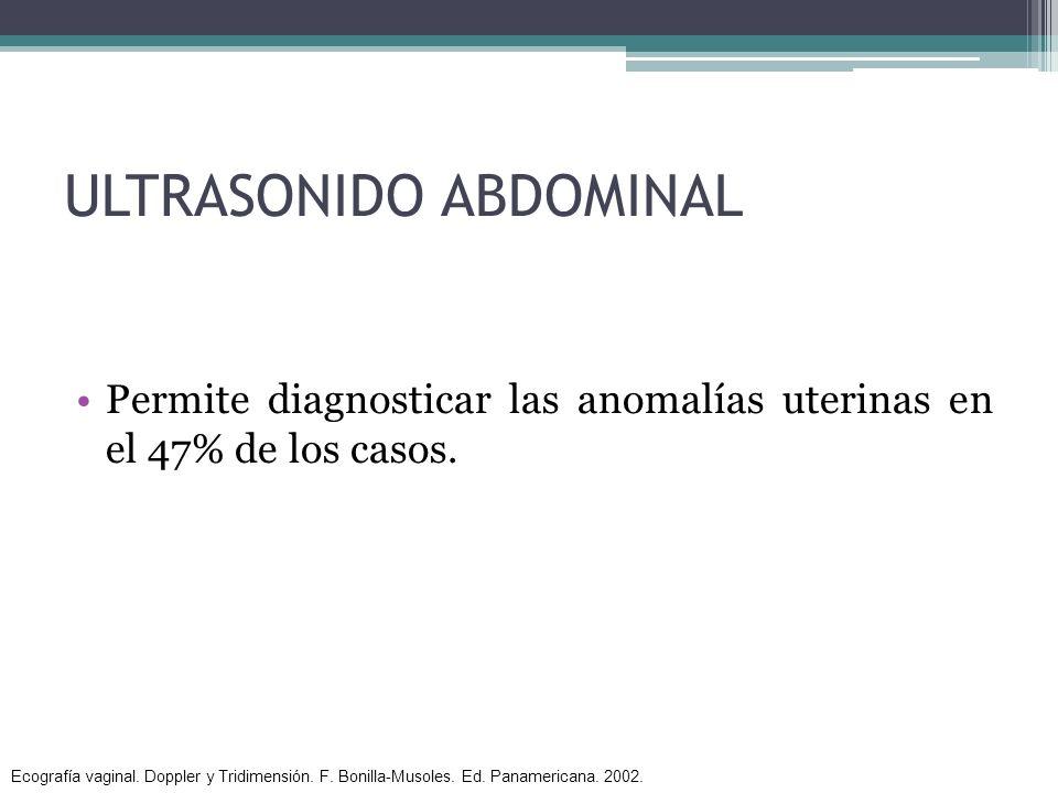 ULTRASONIDO ABDOMINAL Permite diagnosticar las anomalías uterinas en el 47% de los casos. Ecografía vaginal. Doppler y Tridimensión. F. Bonilla-Musole