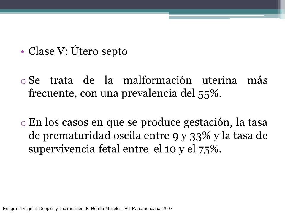 Clase V: Útero septo o Se trata de la malformación uterina más frecuente, con una prevalencia del 55%. o En los casos en que se produce gestación, la