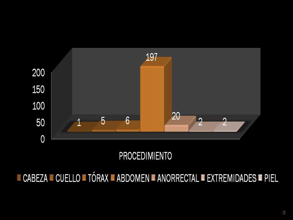 REGIÓNPROCEDIMIENTONÚMEROPORCENTAJE CABEZA1.RESECCIÓN DE TUMOR EN CARRILLO IZQUIERDO CON COLGAJO RADIAL DEL ANTEBRAZO Y MICROANASTOMOSIS DE ARTERIA Y VENA RADIAL Y CEFÁLICA 1 (F)0.45% CUELLO1.HEMITIROIDECTOMÍA DERECHA 2.TIROIDECTOMIA TOTAL 3.PARATIROIDECTOMÍA 4.EXPLORACIÓN DE HERIDA DE CUELLO 1 (F) 2 (M) 1 (M) 1.36% 0.45% TÓRAX1.CUADRANTECTOMÍA 2.MASTECTOMÍA UNILATERAL 3.MASTECTOMÍA BILATERAL 4.RESECCIÓN DE TUMOR EN ESCÁPULA 2 (F) 1 (F) 0.90% 0.45% 4
