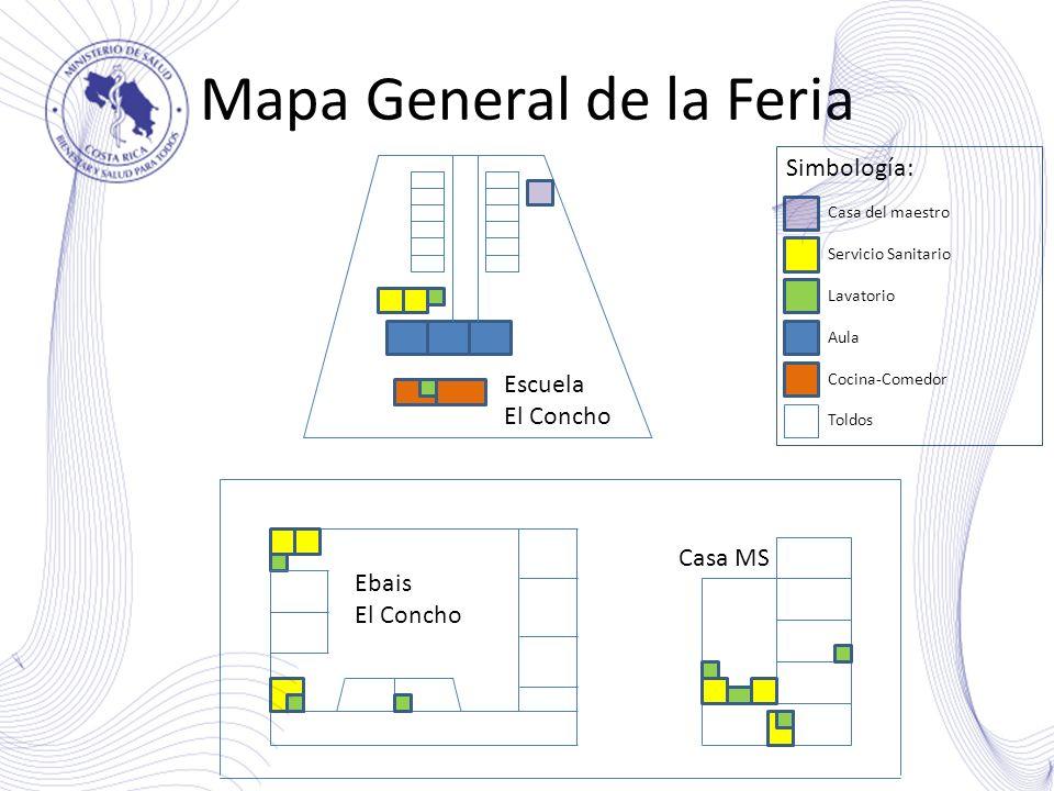 Mapa General de la Feria Escuela El Concho Ebais El Concho Casa MS Simbología: Casa del maestro Servicio Sanitario Lavatorio Aula Cocina-Comedor Toldo