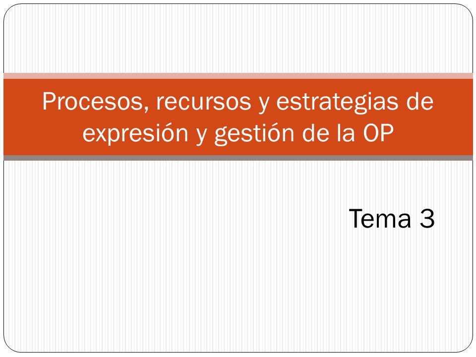 Tema 3 Procesos, recursos y estrategias de expresión y gestión de la OP