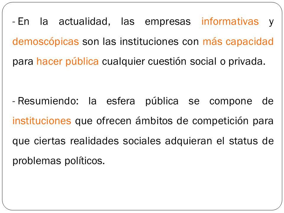 - En la actualidad, las empresas informativas y demoscópicas son las instituciones con más capacidad para hacer pública cualquier cuestión social o pr
