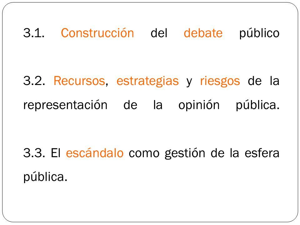 3.1. Construcción del debate público 3.2. Recursos, estrategias y riesgos de la representación de la opinión pública. 3.3. El escándalo como gestión d