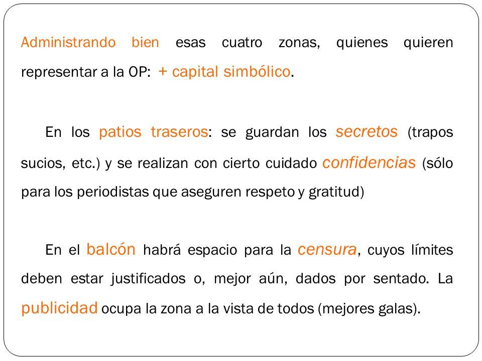 Administrando bien esas cuatro zonas, quienes quieren representar a la OP: + capital simbólico. En los patios traseros : se guardan los secretos (trap