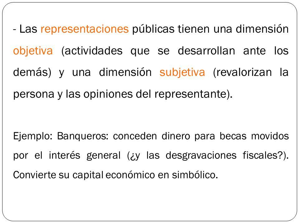 - Las representaciones públicas tienen una dimensión objetiva (actividades que se desarrollan ante los demás) y una dimensión subjetiva (revalorizan l