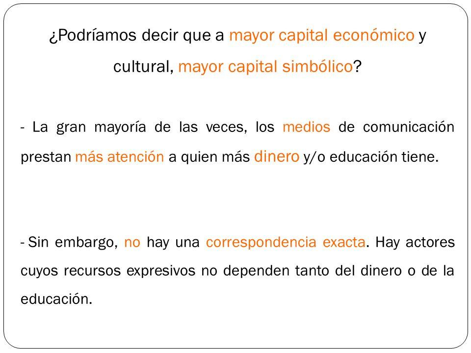 ¿Podríamos decir que a mayor capital económico y cultural, mayor capital simbólico? - La gran mayoría de las veces, los medios de comunicación prestan