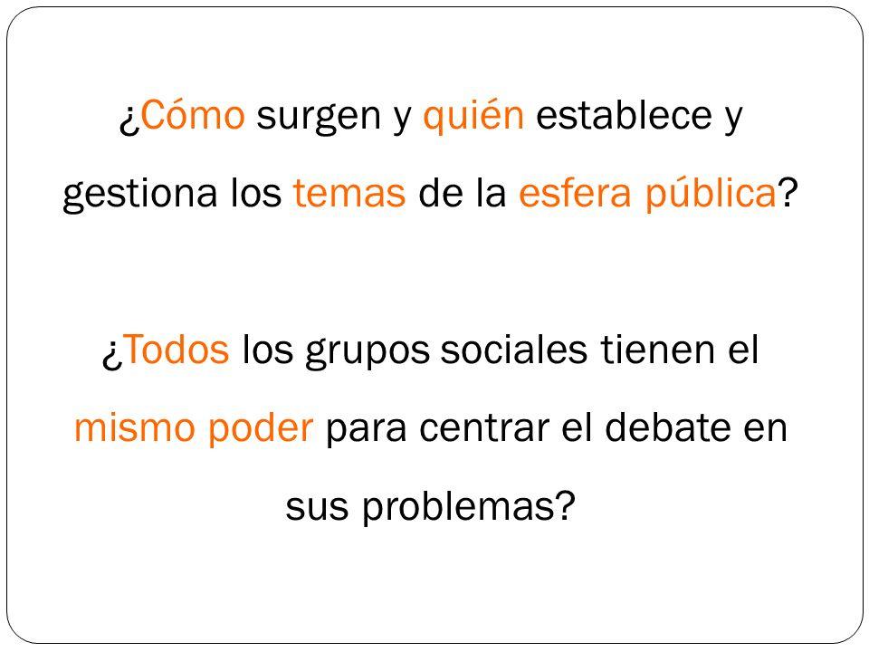 Construcción del debate público - La esfera pública no tiene contenidos intrínsecos.
