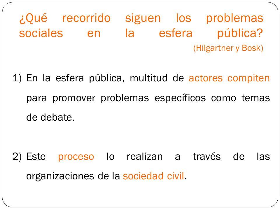 ¿Qué recorrido siguen los problemas sociales en la esfera pública? (Hilgartner y Bosk) 1)En la esfera pública, multitud de actores compiten para promo
