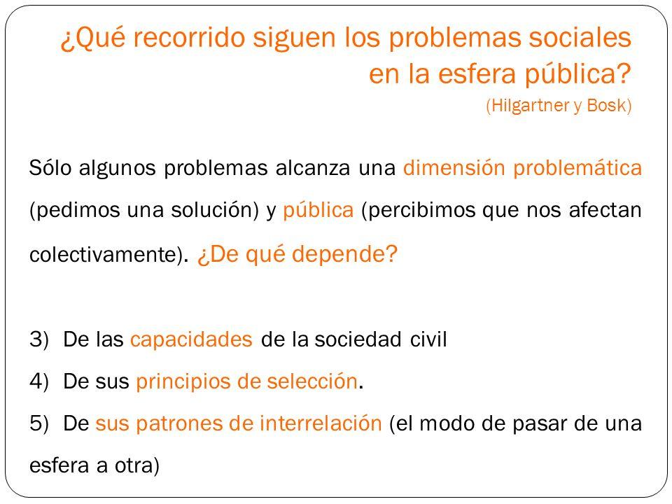 ¿Qué recorrido siguen los problemas sociales en la esfera pública? (Hilgartner y Bosk) Sólo algunos problemas alcanza una dimensión problemática (pedi