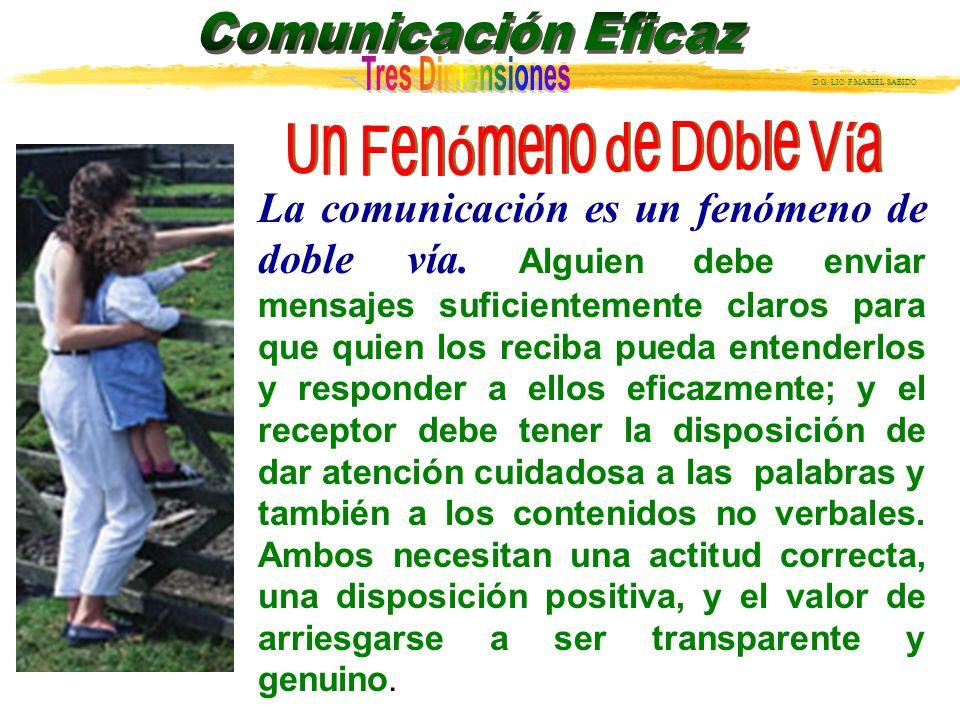 D.G.LIC. F.MARIEL SABIDO La comunicación es siempre un fenómeno de doble vía.