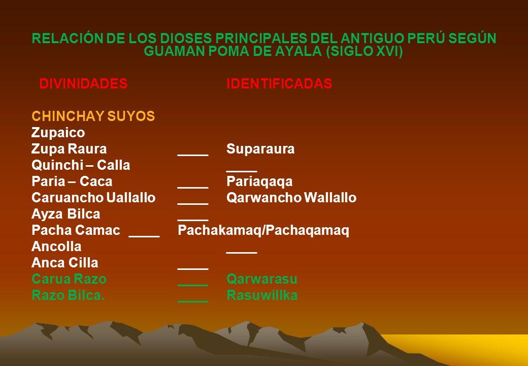 2.1. LA JERARQUIA DE LOS DIOSES ANDINOS Y LAS FRONTERAS CULTURALES: Organización Espacial y las Identidades Étnicas en el Mundo Andino DIOSES LOCALES