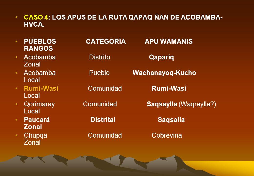 CASO 3: APU MAYOR TORONGANA DEL DISTRITO DE CHURUCAMPA DE TAYACAJA-HVCA. PUEBLOS CATEGORÍAS APU WAMANIS RANGOS Churucampa Distrito Torongana Zonal Chu