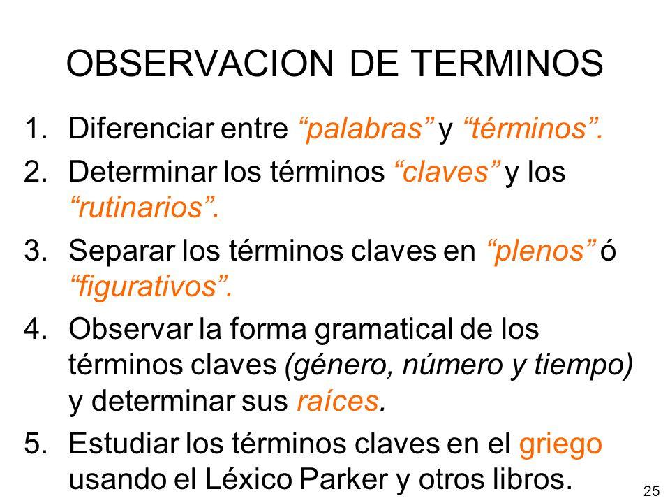 OBSERVACION DE TERMINOS 1.Diferenciar entre palabras y términos. 2.Determinar los términos claves y los rutinarios. 3.Separar los términos claves en p