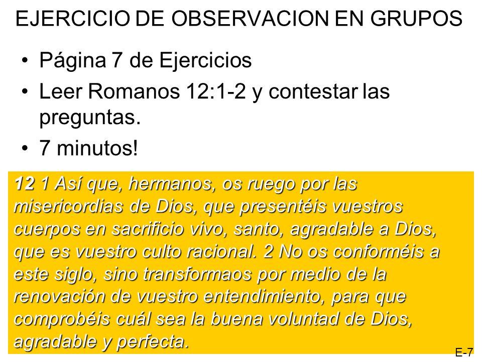 EJERCICIO DE OBSERVACION EN GRUPOS Página 7 de Ejercicios Leer Romanos 12:1-2 y contestar las preguntas. 7 minutos! 12 1 Así que, hermanos, os ruego p