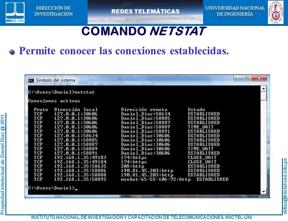 ddiaz@inictel-uni.edu.pe INSTITUTO NACIONAL DE INVESTIGACION Y CAPACITACION DE TELECOMUNICACIONES, INICTEL-UNI Propiedad intelectual de Daniel Díaz @ 2011 REDES TELEMÁTICAS UNIVERSIDAD NACIONAL DE INGENIERÍA UNIVERSIDAD NACIONAL DE INGENIERÍA DIRECCIÓN DE INVESTIGACIÓN DIRECCIÓN DE INVESTIGACIÓN COMANDO NETSTAT Permite conocer las conexiones establecidas.