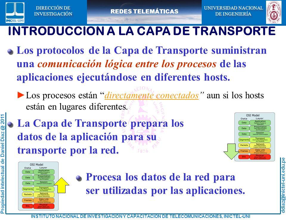 ddiaz@inictel-uni.edu.pe INSTITUTO NACIONAL DE INVESTIGACION Y CAPACITACION DE TELECOMUNICACIONES, INICTEL-UNI Propiedad intelectual de Daniel Díaz @ 2011 REDES TELEMÁTICAS UNIVERSIDAD NACIONAL DE INGENIERÍA UNIVERSIDAD NACIONAL DE INGENIERÍA DIRECCIÓN DE INVESTIGACIÓN DIRECCIÓN DE INVESTIGACIÓN INTRODUCCION A LA CAPA DE TRANSPORTE Los protocolos de la Capa de Transporte suministran una comunicación lógica entre los procesos de las aplicaciones ejecutándose en diferentes hosts.