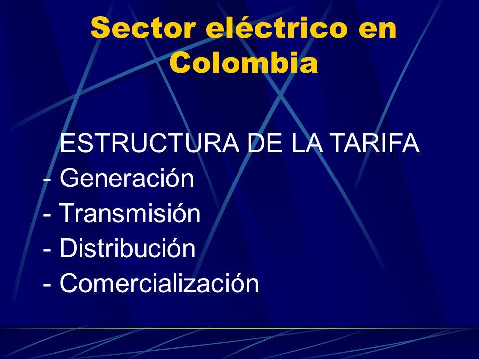 Sector eléctrico en Colombia ESTRUCTURA DE LA TARIFA - Generación - Transmisión - Distribución - Comercialización